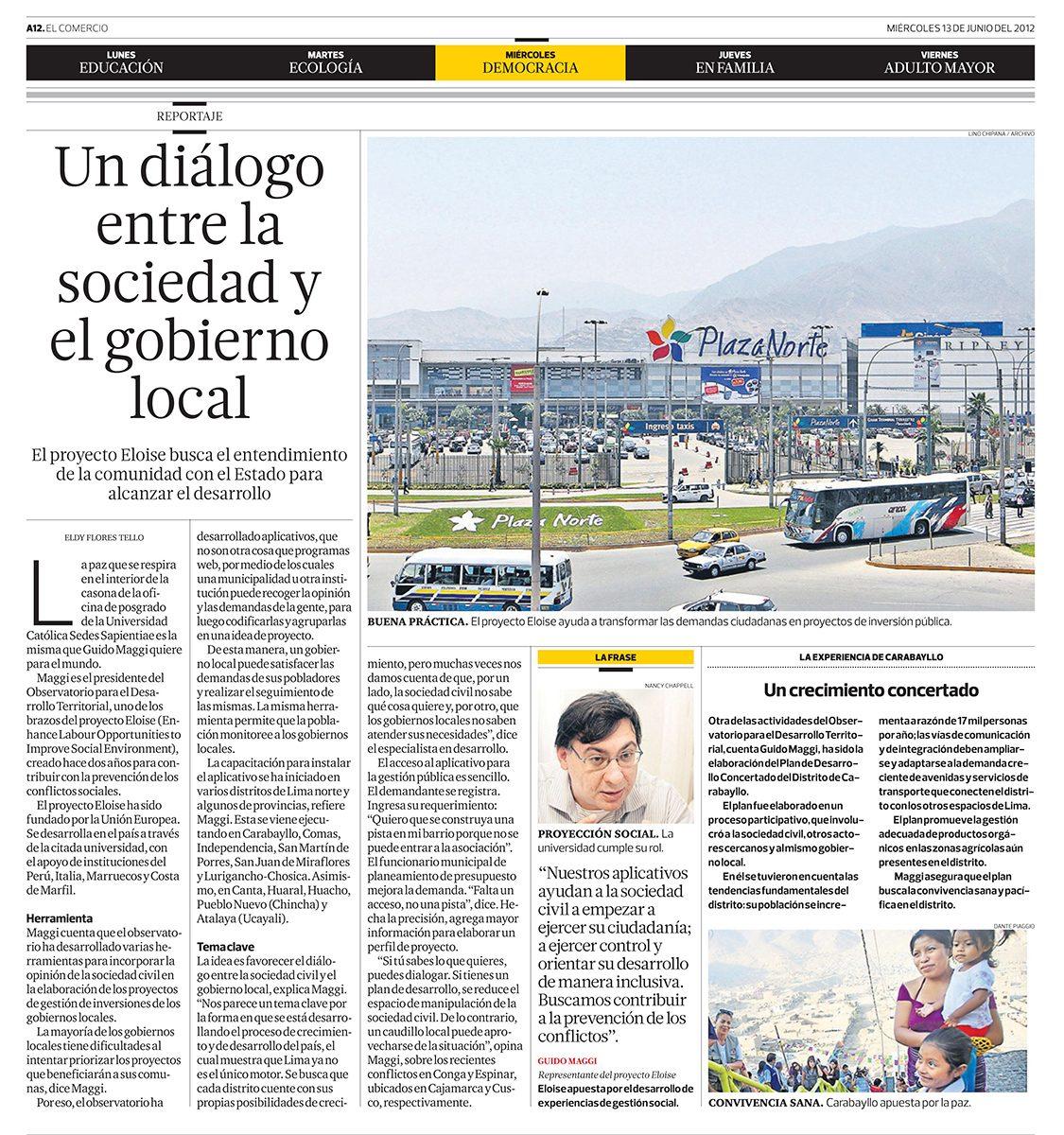 """""""Un diálogo entre la sociedad y el gobierno local"""""""