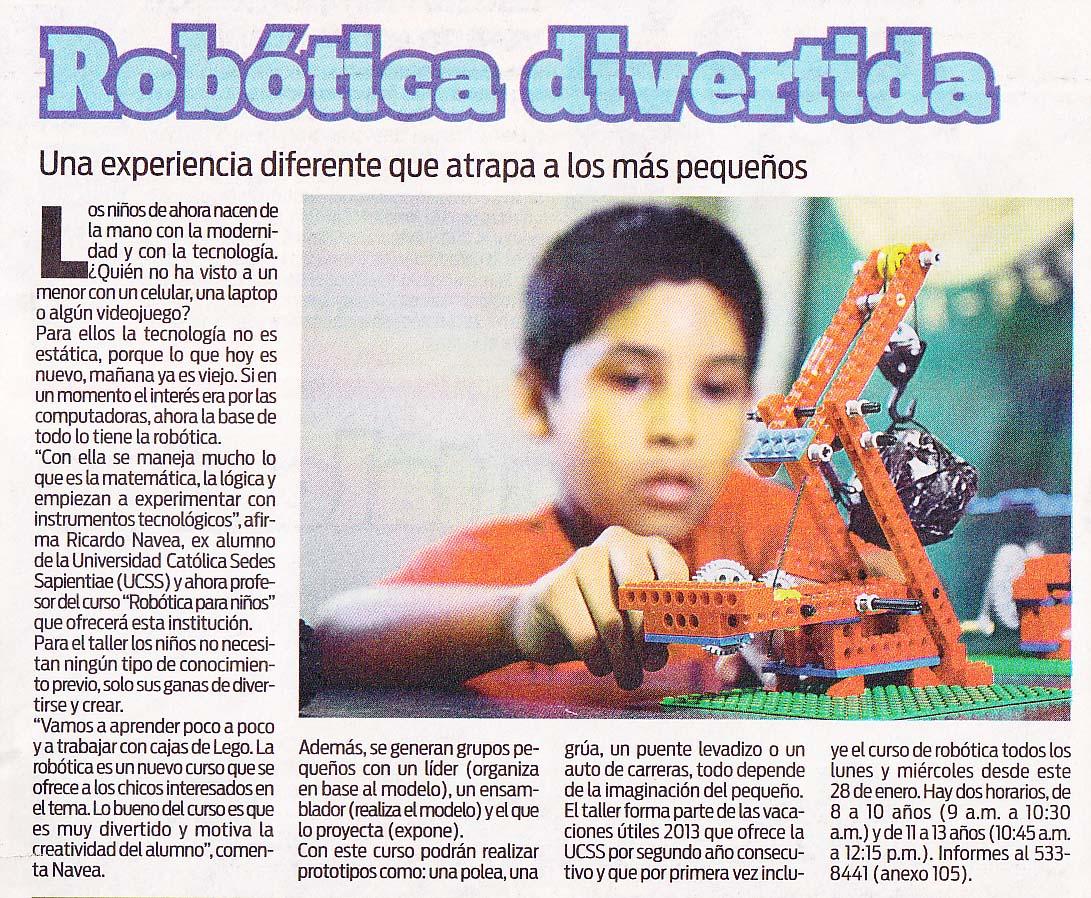 ROBÓTICA divertida (Diario OJO 25/01/2013) - CampUCSS