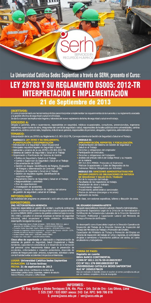 Curso Ley 29783 y su reglamento DS0005
