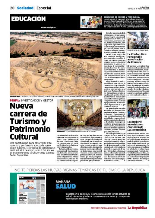 25-03-2014 La República - Turismo y Patrimonio Cultural