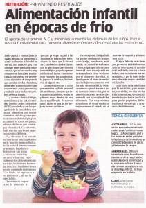 """""""Alimentación infantil en épocas de frío"""" (La República, 09/07/2014)"""