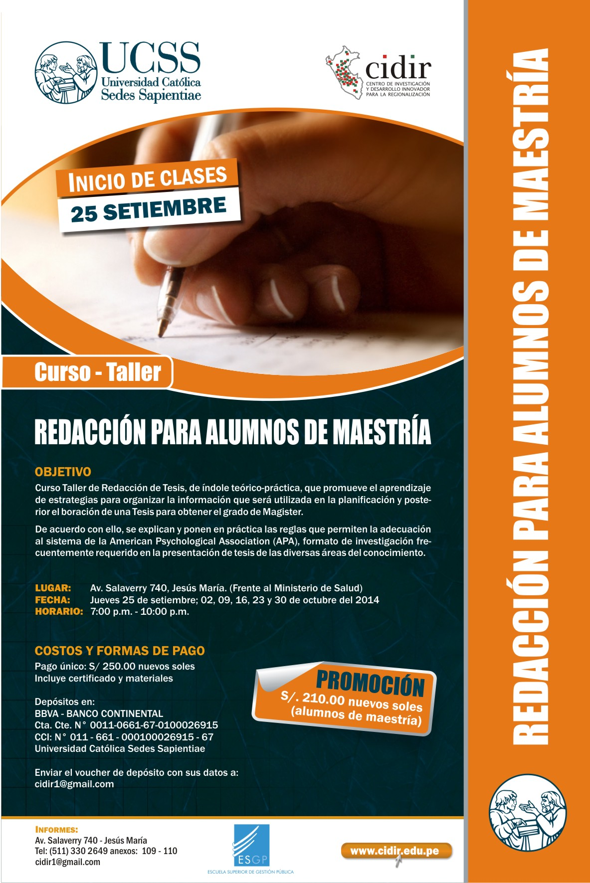 Redacción para alumnos de MAESTRÍA