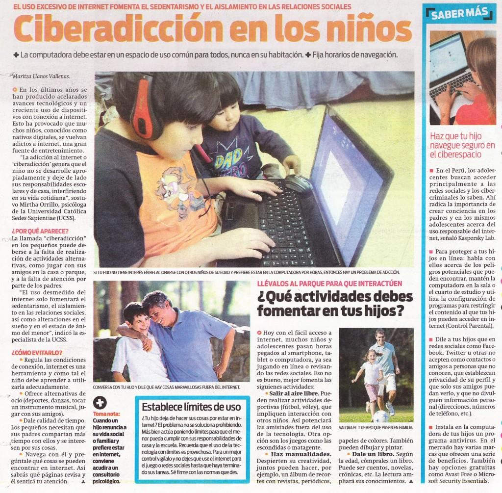 """""""Ciberadicción en los niños"""" (El Popular 16/11/2014)"""
