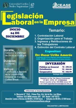 Afiche Legislacion Laboral UCSS CEASE