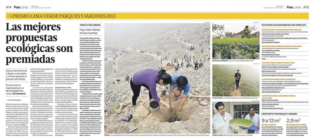 29092013 El Comercio Premio Lima Verde CIB
