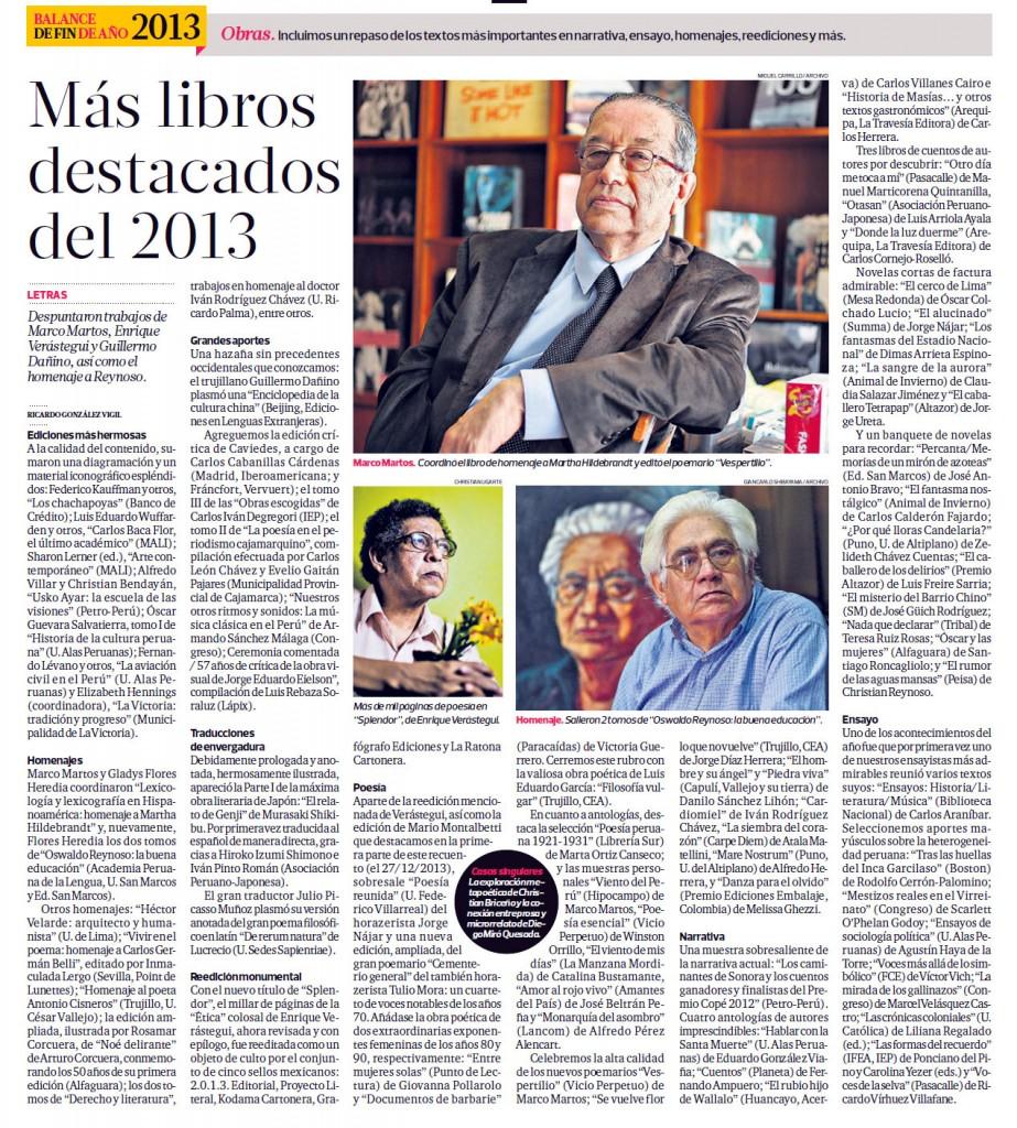 Los libros más destacados del 2013 (El Comercio 06/01/2013)