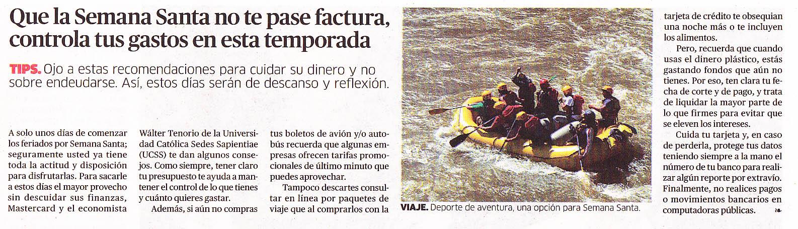 Que la Semana Santa no te pase factura, controla tus gastos en esta temporada - La Republica 13/04/2013