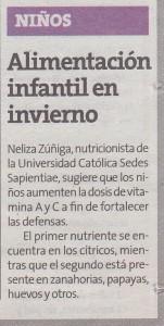 """""""Alimentación infantil en invierno"""" (Perú21, 10/07/2014)"""