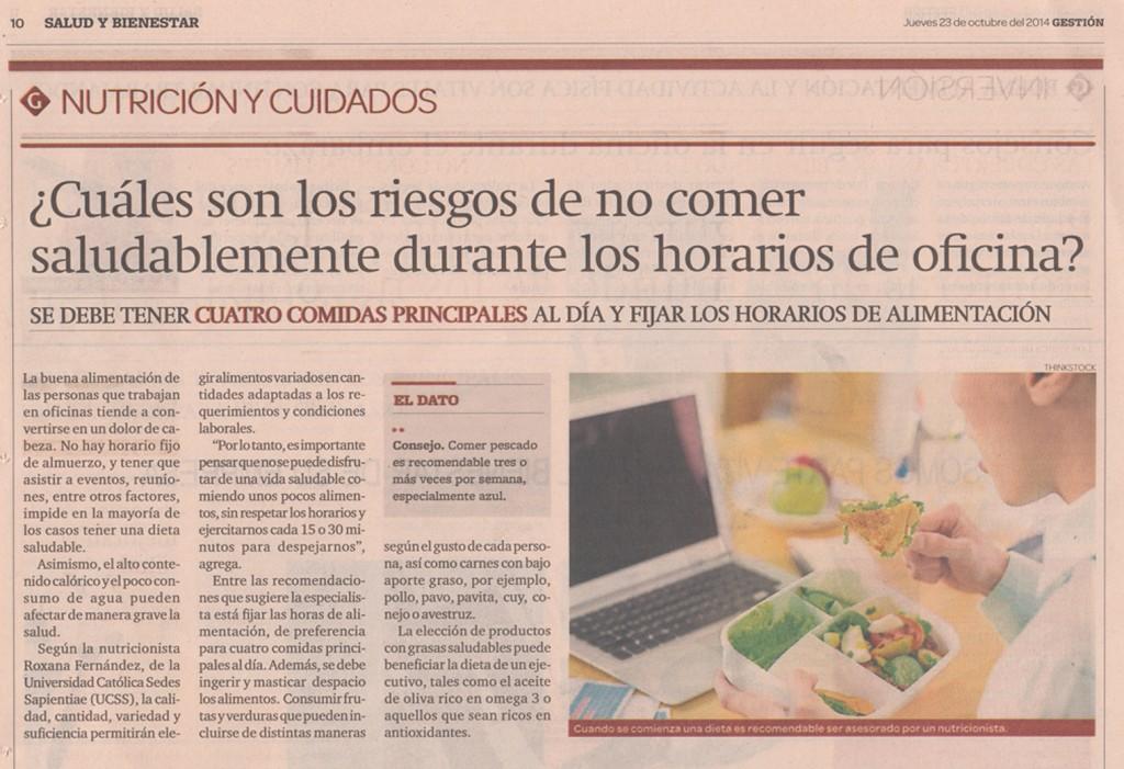 ¿Cuáles son los riesgos de no comer saludablemente durante los horarios de oficina? (Diario Gestión 23/10/2014)