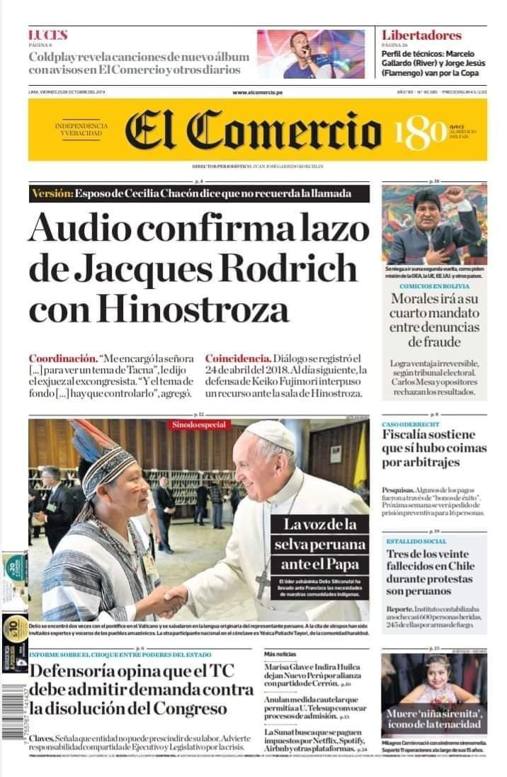 Portada del diario El Comercio